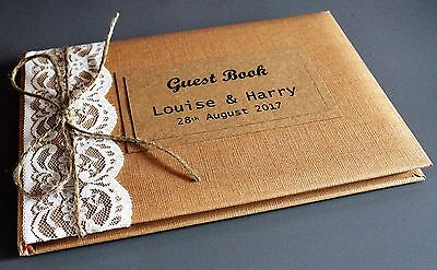 Personalised Rustic Kraft Wedding Guest Book With Lace & Organic Jute Twine. • 24.95£