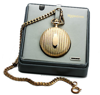 $16.99 • Buy Majesti Pocketwatch, Engravable Cover Case,,gold Finish,with Dateand Day,& Chain