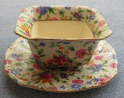 $ CDN87.42 • Buy Royal Winton Old Cottage Chintz Square Mayonnaise Bowl With Liner Plate