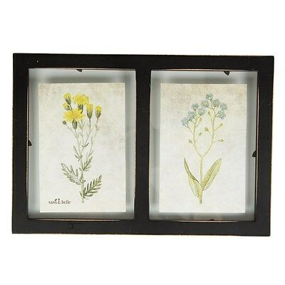Sass & Belle RUSTIC DOUBLE FLOATING WALL PHOTO FRAME BLACK Shabby Chic Bohemian • 7.15£