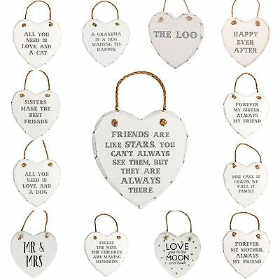 £3.65 • Buy Wooden Heart Wall Plaque Shabby Chic Hanging Sign