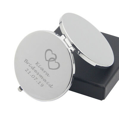 PERSONALISED Valentines Gift Engraved Compact Mirror Birthday Wedding Present • 6.99£