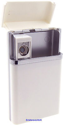 Cigarette Case - Champ White Plastic King Size With USB Lighter - NEW • 10.99£