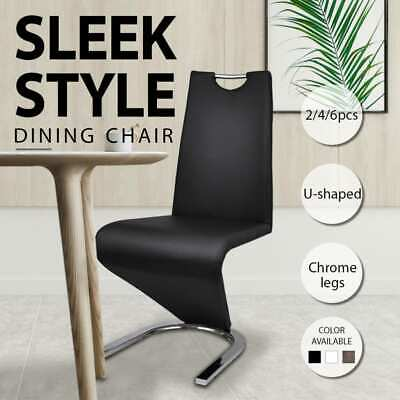 AU171.99 • Buy 3 Colours 2/4/6pcs Faux Leather Dining Chair Grand Chrome Metal Base Kitchen