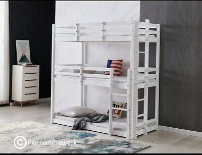 Bunk Bed Wooden Frame Triple Sleeper Children 3ft Adult 3 Tier Bunk Bed White • 349.99£