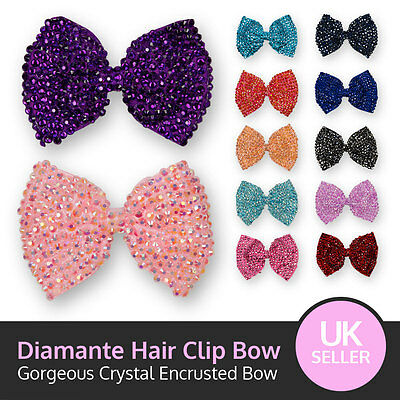 Large Crystal Bow Sparking Diamante Encrusted Hair Clip Grip • 2.99£