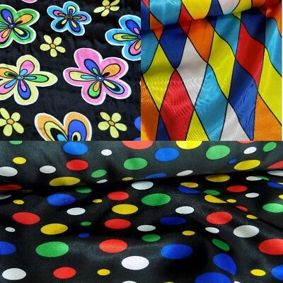 £4.50 • Buy Printed Satin Polyester Dressmaking Costume Fabric, Harlequin, Spots, Flowers