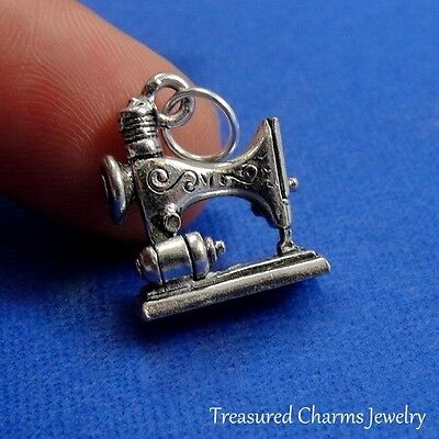 $9.95 • Buy Silver Sewing Machine Charm Seamstress Quilt Spool Thread 3D Pendant NEW