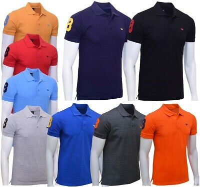 £8.99 • Buy Mens Polo Shirts Short Sleeve Breathable Pique Top Regular Fit Plain Work Casual