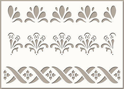 Border STENCIL Lace Paint Wall Furniture Card Making Reusable Template Art BO21 • 4.49£