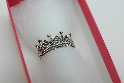 Crown Ring Silver 925 With Marcasite Size M N Ladies Gift • 25.99£