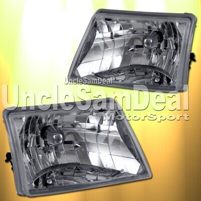 $129.99 • Buy Ford Ranger Euro Clear Lens Chrome Housing Headlights Pair Direct Fit