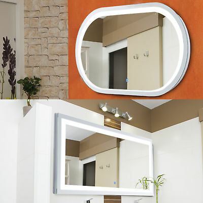 Bathroom Illuminated Hung LED Wide Mirror Sensor Touch Wall Mounted Aluminium • 99.99£