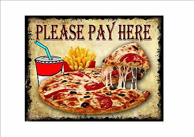Please Pay Here Pizza Shop Sign Pay Here Cafe Sign Metal Vintage Takeaway Sign   • 7£