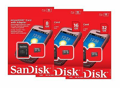 SanDisk 8GB 16GB 32GB Micro SD SDHC Class 4 TF Flash Memory Card Adapter Lot • 5.35$