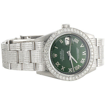 $ CDN8122.04 • Buy Mens Rolex 36mm DateJust Diamond Watch Fully Lced Band Green Roman Dial 5 CT.