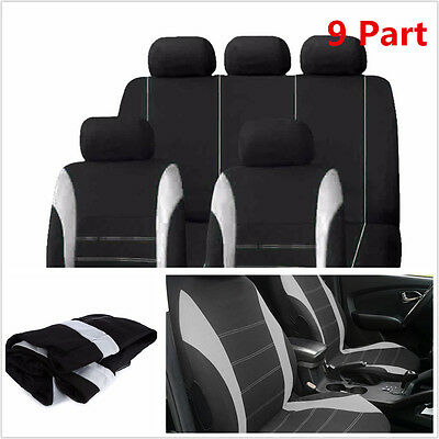 $ CDN51.22 • Buy  9 Part Gray Car Seat Covers Set For Auto W/Steering Wheel/Belt Pad/Head Rests