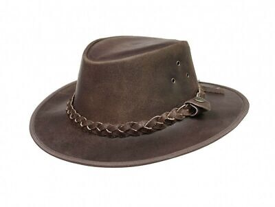 Australian Western Style Hat Leather Brown Cowboy Bush Hat With Free Chin Strap • 15.85£