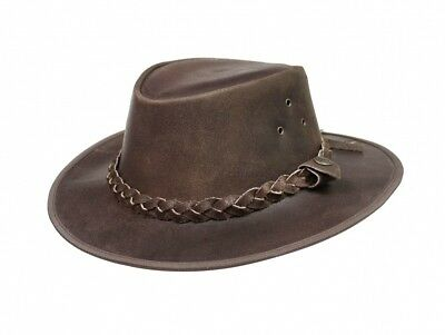 £13.75 • Buy Australian Western Style Leather Brown Cowboy Bush Hat Hats With Free Chin Strap