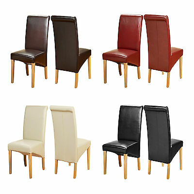 £182.99 • Buy Pair Faux Leather Dining Chairs Modern Roll Top Scroll High Back Seat Oak Legs