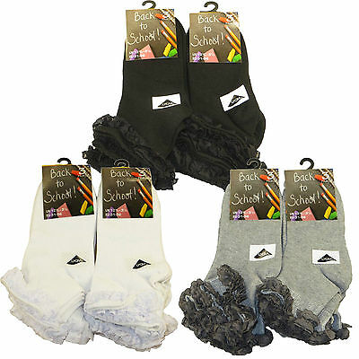 6 Pairs Kids Girls Cotton Rich Lace Top ,White Grey Black Trainer School Socks • 6.75£