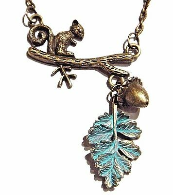 BRONZE SQUIRREL IN OAK TREE NECKLACE Bib Pendant Branch Acorn Nut Pendant 1W • 12.99$