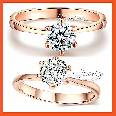 AU8.99 • Buy 9k Rose Gold Gf 1ct Solitaire Lab Diamond Solid Classic  Engagement Wedding Ring