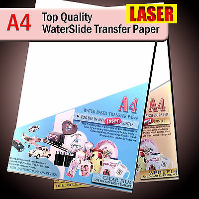 Water Slide Decals - WaterSlide Transfer Paper - LASER A4 - Clear Or White Lot • 5.15£