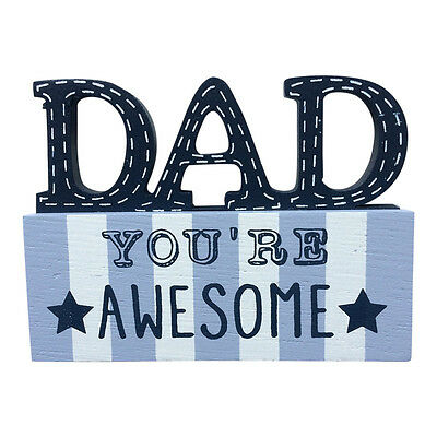 £5.95 • Buy Dad Blue Wooden Word Block – No1  Best Super Awesome Father's Day Gifts Fathers