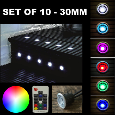 £45 • Buy 10 X 30mm Led Decking/plinth Lights Dimmable Ip65 Rgb Colour Changing