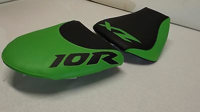 $88 • Buy Kawasaki Zx10r 2004/05  Black/green Custom Front& Rear Seat Covers  Zx10 Ninja