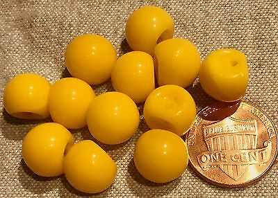$5.99 • Buy 12 Small Shiny Yellow Glass Ball Buttons Made In Germany 7/16  11mm # 8180
