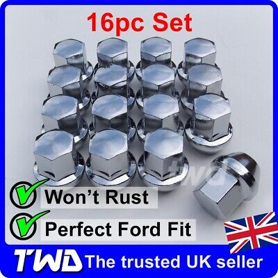 16x WHEEL NUTS - FORD (M12x1.5) ALLOY CHROME TAPERED SEAT 19MM HEX BOLT [16N] • 18.99£