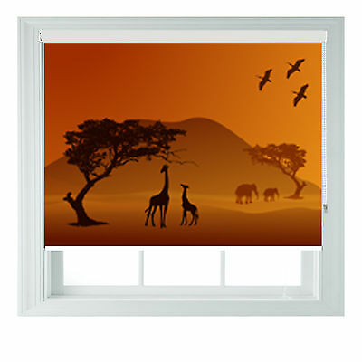 Jungle Animals Sunset Photo Blackout Roller Blinds Various Sizes Made To Measure • 65£