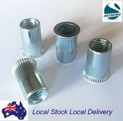 AU26.90 • Buy Qty 50 M6 Nutserts Clear Zinc Plated Steel Countersunk Rivet Nut Nutsert Rivnut