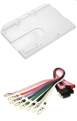 Enclosed Poly Carbonate ID Card Holder With Lobster Clip Breakaway Lanyard • 1.20£