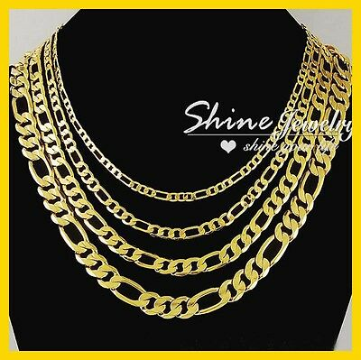 AU8.99 • Buy 9k Yellow Gold Gf Figaro Ring Curb Chain Lady Men Solid Cuban 16-30inch Necklace