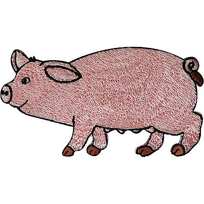 £2.79 • Buy Pig Patch Embroidered Iron Sew On Clothes Badge Farm Animal Embroidery Applique