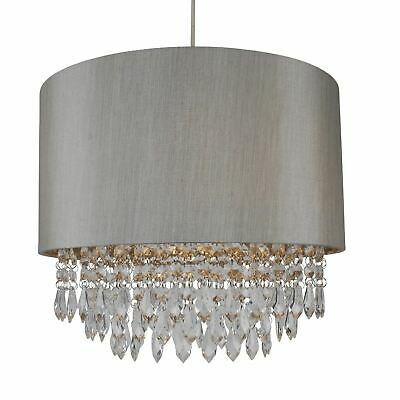 £29.99 • Buy Modern Easy Fit Drum Shade Silver Fabric Ceiling Pendant Light Shade Chandelier