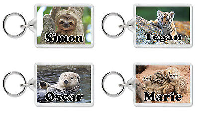 £3.69 • Buy Personalised Animal Keyring / Bag Tag - Add Any Name *Great Gift* Large Size