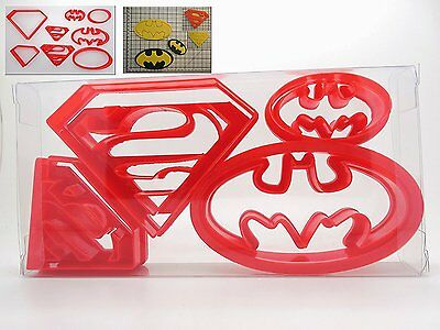 8pcs Super Hero Set Of 4 Superman / Batman Cookie Cutter,Biscuit Cutter, Pastry, • 6.09£
