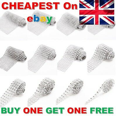*1M* SILVER Diamante Rhinestone Sparkling Diamond Wedding Cake Trim Ribbon Mesh • 0.99£