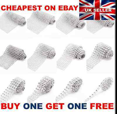 BOGOF SILVER Diamante Rhinestone Sparkling Diamond Wedding Cake Trim Ribbon Mesh • 0.99£