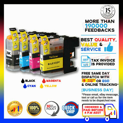 AU9.90 • Buy 4 X NoN-OEM Ink LC133 BCMY For Brother MFC-J4410DW MFC-J4510DW With Chip