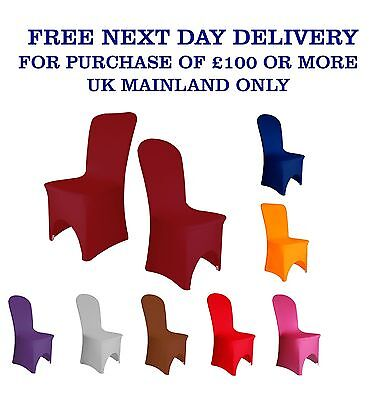£220 • Buy Elasticated CHAIR COVERS Wedding Spandex Arched Front 12 Colours Party Decor UK