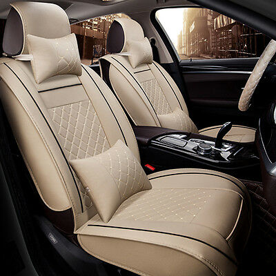 $ CDN160.92 • Buy 5-Seats Deluxe PU Leather Car Seat Cover Full Front+Rear Cushion W/Pillow Size M