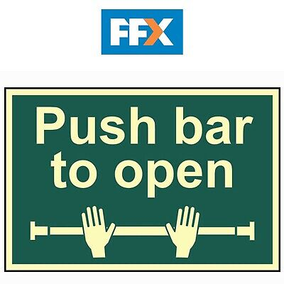 £14.50 • Buy Scan SCA1584 Push Bar To Open Sign - Photoluminescent 300 X 200mm