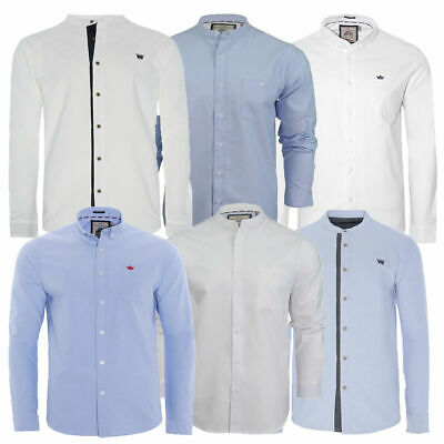 Mens Grandad Collar Or Collared Blue Oxford Shirt Cotton Casual Long Sleeve Top • 9.99£