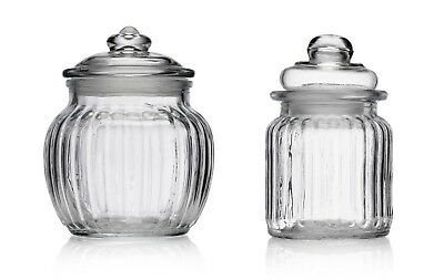 £6.99 • Buy Small Ribbed Glass Sweet Jars & Lid Candy Food Storage Vintage Wedding Favour
