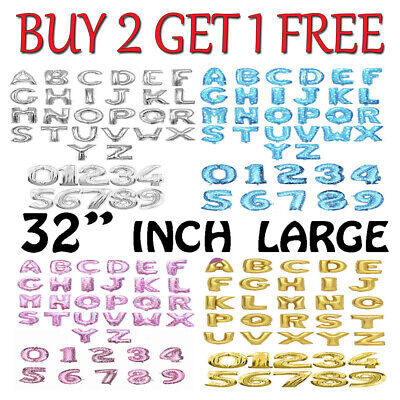 $3.44 • Buy 32  LETTER Foil Number Balloons Air Baloons Large Happy Birthday Party Ballons
